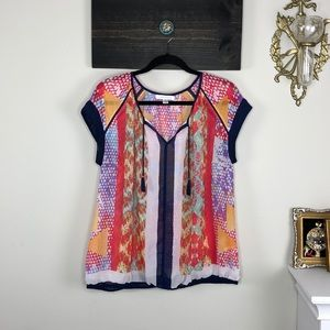 Vibrant color sheer blouse